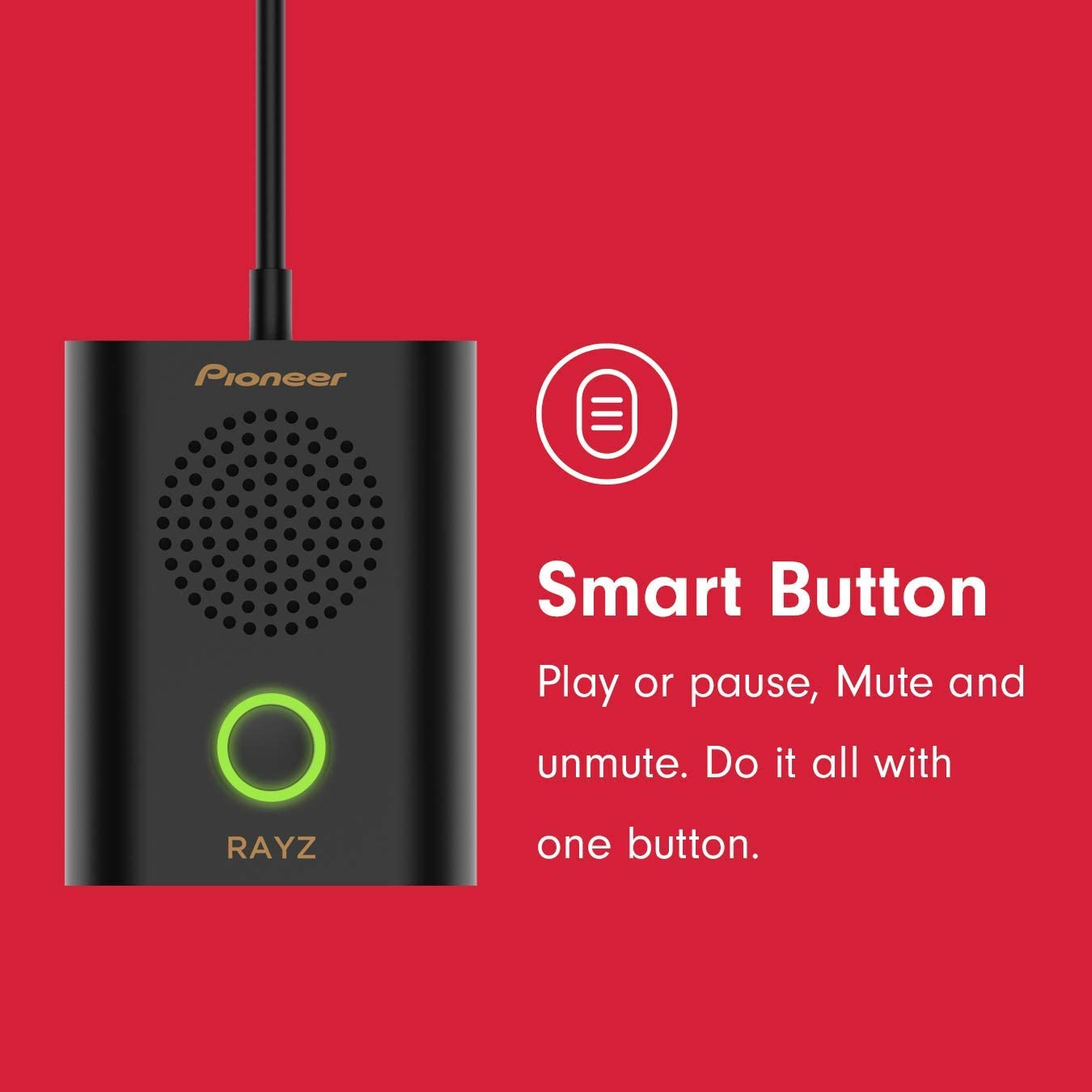 Perfect in Skype Compatible with iPhone 11 Pro Max X//XS Max//XR 8//P 7//P//iPad//Mac Business Conference Calls Pioneer Rayz Rally Portable Speaker Plug and Play Onyx