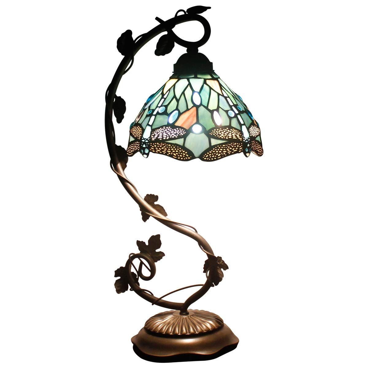Tiffany Lamps Stained Glass Table Desk Reading Lamp Crystal Bead Sea Blue Dragonfly Style Shade W8H22 Inch for Living Room Bedroom Bookcase Dresser Coffee Table S147 WERFACTORY