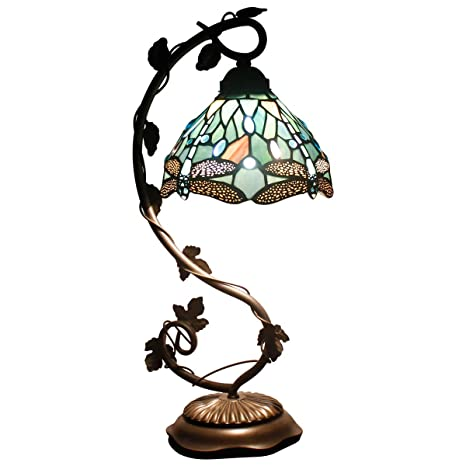2825d0138513 Tiffany Lamps Stained Glass Table Desk Reading Lamp Crystal Bead Sea Blue  Dragonfly Style Shade W8H21