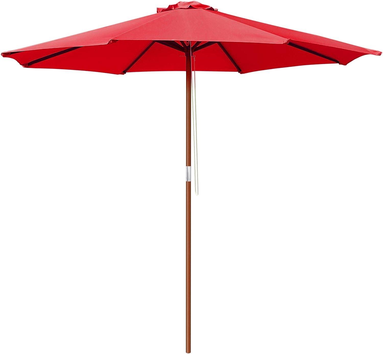 Yescom 9ft Wooden Outdoor Patio Red Umbrella W/Pulley Market Garden Yard Beach Deck Cafe Sunshade