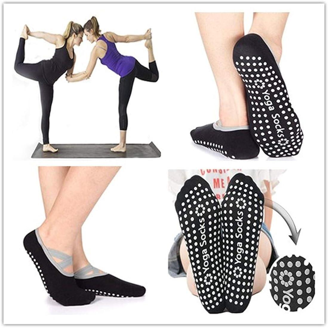 Womens Non-Slip Yoga Socks, Anti-Skid Pilates, Barre, Bikram Fitness Hospital Slipper Socks with Grips