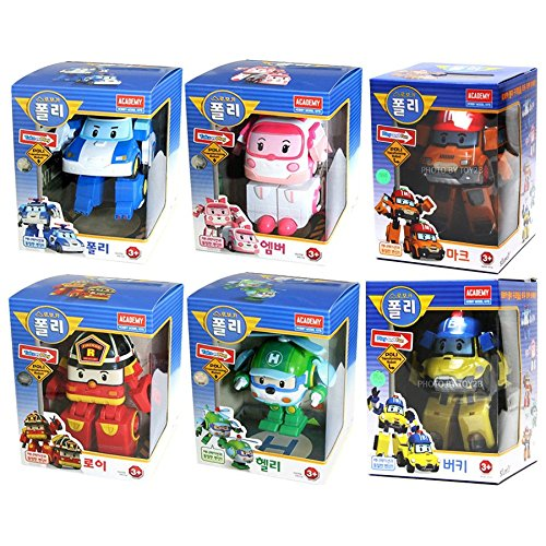 [6 Pcs SET] Academy Robocar Poli Transforming Robot Toy (Poli, Roy, Amber, Helly, Mark, Bucky) (Robot Poli)