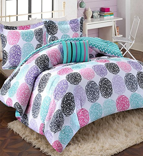 Girls Teen Kids Modern Bedding Set Aqua Pink Purple Dots Reversible Comforter with Shams and Striped Accent Pillow. Includes Bonus Sleep Mask From Designer Home. (Twin/Twin XL) ()
