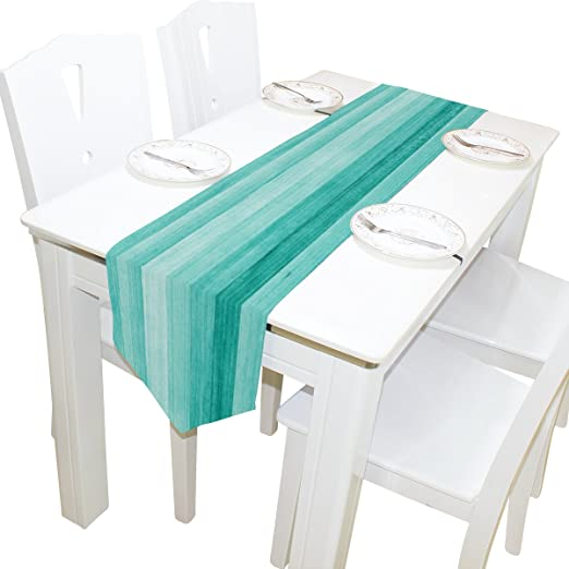 Amazon Com Alaza Table Runner Home Decor Teal Turquoise Blue