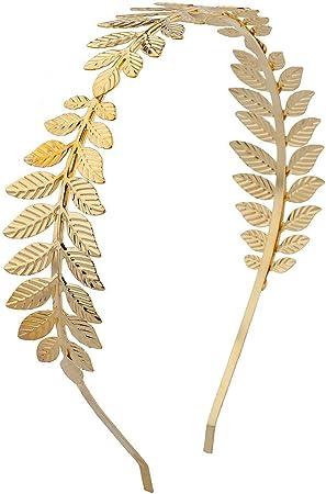 Lux Accessories - Diadema de hojas doradas, rígida