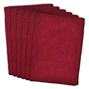 """DII Microfiber Multi-Purpose Cleaning Towels Perfect for Kitchens, Dishes, Car, Dusting, Drying Rags, 16 x 19"""", Set of 6 - Wine"""
