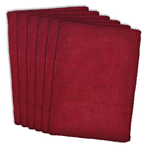 "DII Microfiber Multi-Purpose Cleaning Towels Perfect for Kitchens, Dishes, Car, Dusting, Drying Rags, 16 x 19"", Set of 6 - Wine"