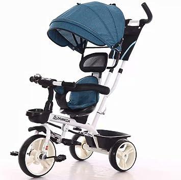 Bici Plegable Triciclos Bebes 1 Año Evolutivo, Juguetes Bebe 3 Meses con Rueda de Espuma EVA Carga 80kg Adecuado para Parques, Caminos de Grava, Viajes, 63 * 29 * 40cm,Blue: Amazon.es: Deportes y aire libre