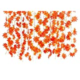 Remeehi 12pcs Artificial Autumn Maple Leaves Garlands Artificial Plants for Home Decor Red