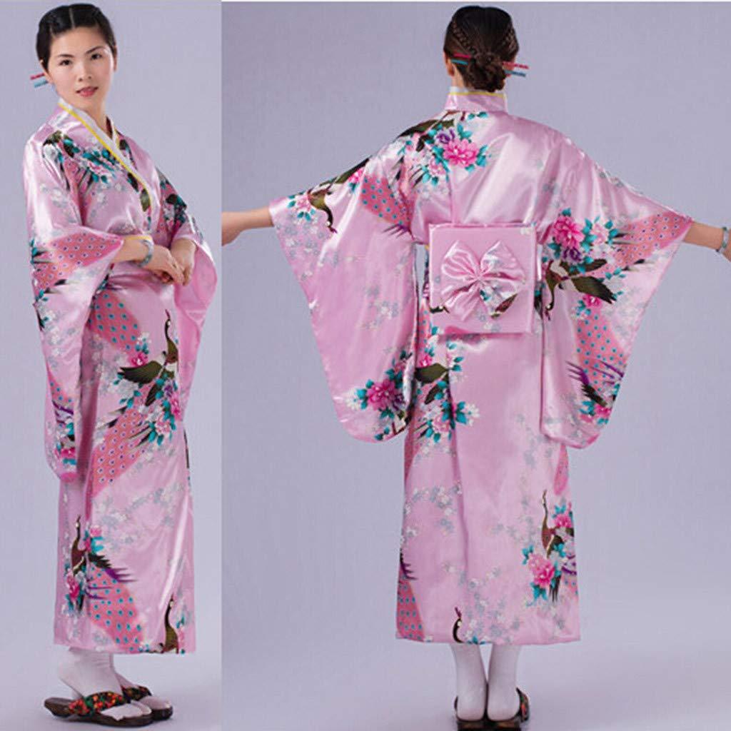 Ultramall Women's Print Kimono Robe Traditional Japanese Dress Photography Cosplay Costume(Pink,One Size) by Ultramall (Image #5)