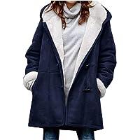 Abrigo cálido para Mujer con Capucha,Abrigo De Invierno Mujer Talla Grande Vintage Abrigos con Bolsillos Grueso Largo de…