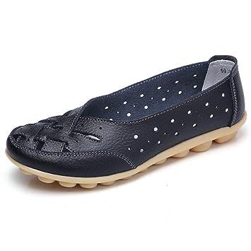 ZHRUI Mocasines de Cuero Genuino de Las Mujeres Ahuecan hacia Fuera los Zapatos Casuales Pisos para