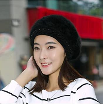 WOMEN LADIES BLACK KNITTED THERMAL PEAK CAP BEANINE SKI HAT TRENDY DESIGNER LOOK