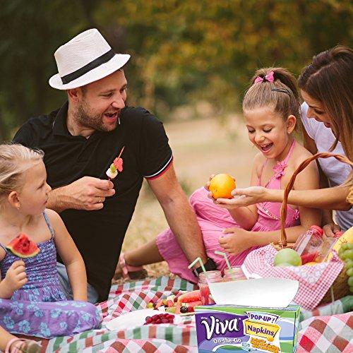 Viva On The Go Paper Napkins 34244 White Pop Up Dispenser Box 65 Disposable Napkins Box 8 Boxes 520 Sheets Case
