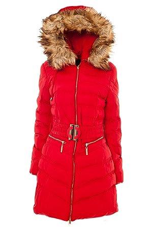 lowest price 5347c 57c16 Damen Winter Steppmantel mit Fellkapuze inkl. Gürtel (L, Rot ...