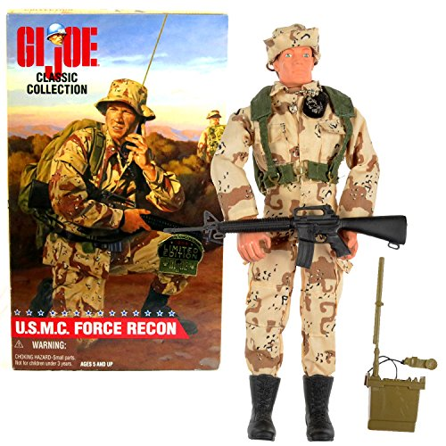 State Classic Collection - Kenner Year 1998 G.I. Joe Classic Collection Limited Edition 12 Inch Tall Soldier Figure - United States Marine Corps U.S.M.C FORCE RECON (Caucasian) with Boonie Hat, Backpack, Radio and Dog Tags
