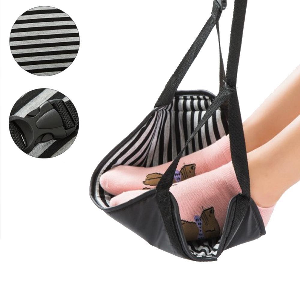 FOONEE Foot Rest Airplane Foot Sling Airplane Travel Accessories Adjustable Black