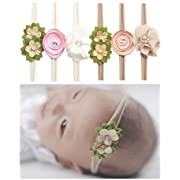 Qandsweet Baby Headbands Rubber Band with Hand Sewing Beads Flower 6 Pack ¡­