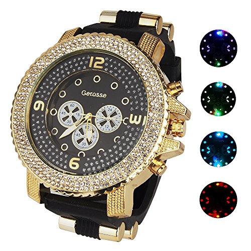 Black Diamond Dial Watch (Gerosse Mens Gold Watches Crystal Diamond Dial Gold Steel Luminous Quartz Wrist Watch big deal Hip Hop Men's Bling Bing Watch (black))