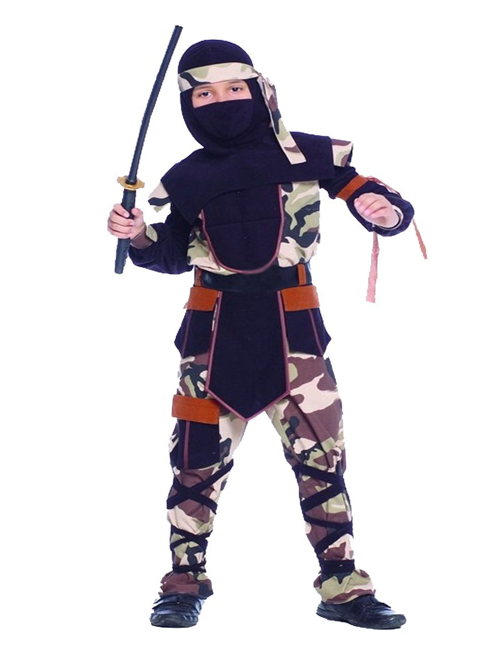 Rubber Johnnies Camo Ninja Costume, Kids, 8-10