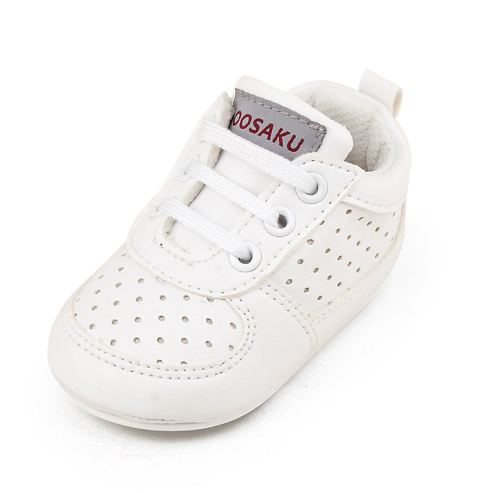 OOSAKU Baby Non-Slip First Walking Shoes Fashion Breathable Rubber Sole Sneaker (12-18 Months, White)