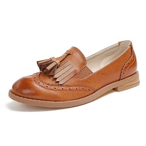 Zapatos De Mujer con Flecos Oxford OtoñO Retro Slip-On Street Style Mocasines Casuales con Borlas Calzado: Amazon.es: Zapatos y complementos