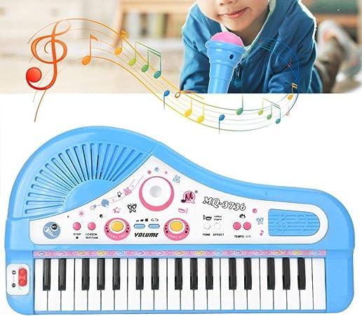 Simlug 【𝐁𝐥𝐚𝐜𝐤 𝐅𝐫𝐢𝐝𝐚𝒚】 Teclado de Piano de Juguete para bebés y niños pequeños, 37 Instrumento de Piano eléctrico de Teclado con micrófono Juguete Educativo para niños(Azul): Amazon.es: Hogar