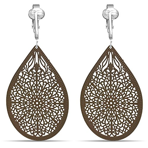 Lovely Victorian Filigree Clip On Earrings for Women & Clip-ons, Lightweight Teardrop Leaf Dangle (Brown)