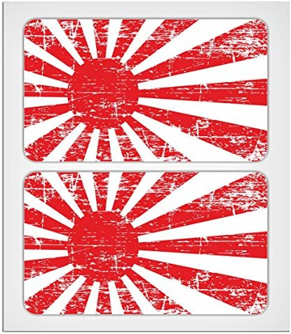 MioVespa Collection, 2 adhesivos laminados de 70 mm, calcomania, estilo envejecido, diseño de bandera japonesa imperial: Amazon.es: Coche y moto