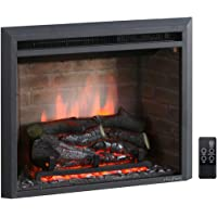 PuraFlame 23 Inches Western Electric Fireplace Insert with Fire Crackling Sound, Remote Control, 750/1500W, Black