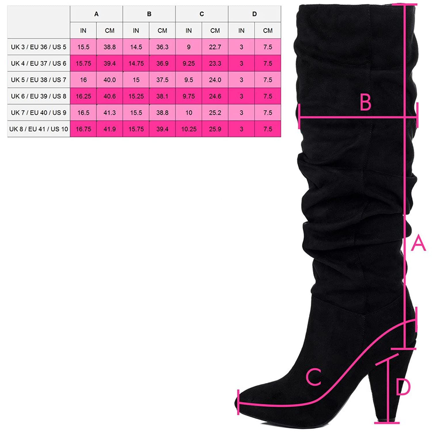High Heel Knee High Tall Boots Black Leather Style Sz 5: Amazon.co.uk:  Shoes & Bags