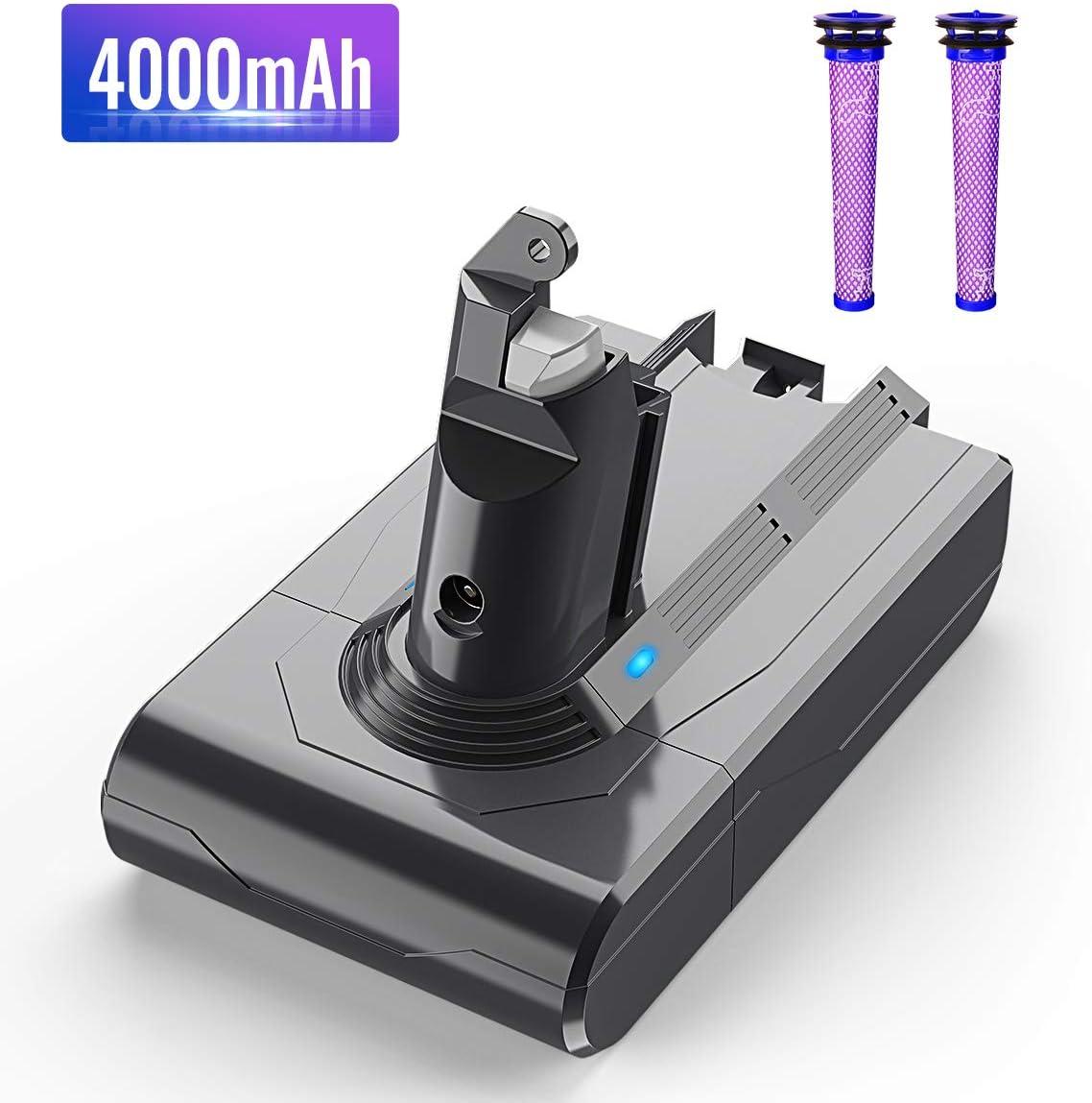 V6 Battery Replacement,BuTure 4000mAh 21.6V Li-ion Battery for DC59 Replacement Battery Compatible with DC58 DC61 DC62 Animal DC72 DC74 595 650 770 880