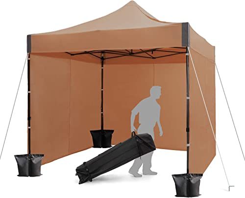 Finfree 10×10 FT Pop Up Canopy Tent Commercial Instant Canopy with Roller Bag,6 Walls and Weight Bags, Brown