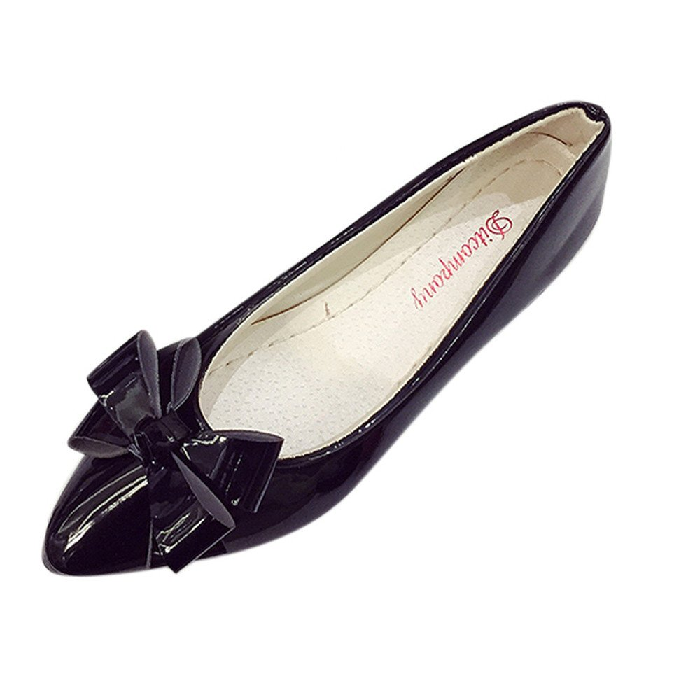 Mosunx Women Ballet Flats, (TM) Bow Pointed Toe Ladies Flat Shoes B071Z96T5V 41(US: 9)|Black