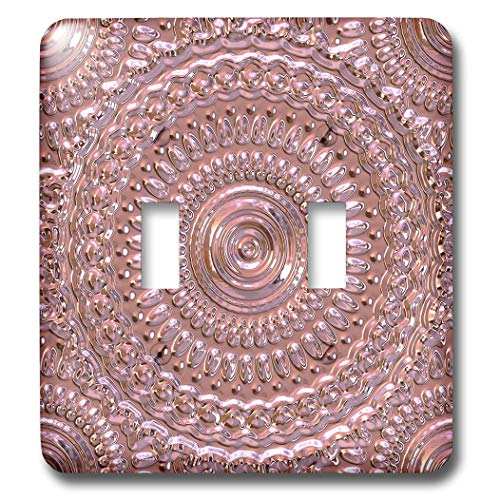 3dRose Andrea Haase Art Illustration - Embossed Metal Style Mandala Pattern In Rose Gold - Light Switch Covers - double toggle switch (lsp_289384_2)