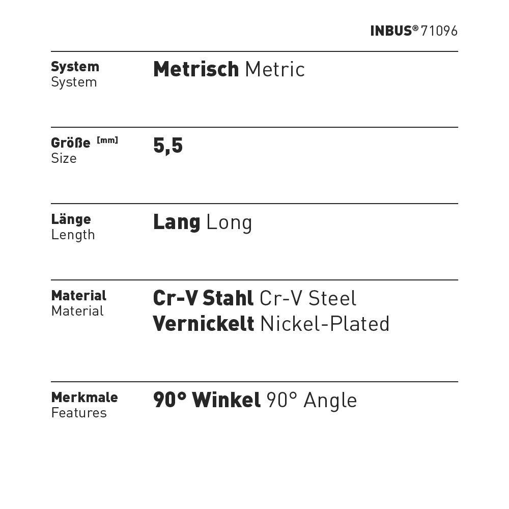 cl/é Allen cl/é coud/ée Made in Germany m/étrique Cl/é INBUS/® 71096 5.5/mm Cl/é /à lunit/é dimension sp/éciale Cl/é /à lunit/é /à 6 pans creux