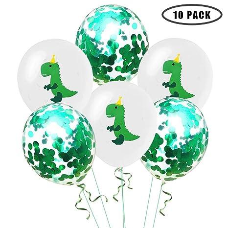 Amazon.com: Globo de confeti verde de dinosaurio de 12.0 in ...