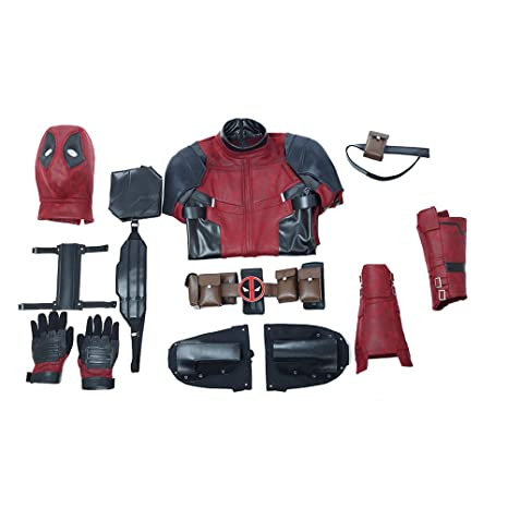 COOLNAN Adults Cosplay Costumes Mens Costume Outfit Set for Deluxe Deadpool Wade Wilson Cosplay
