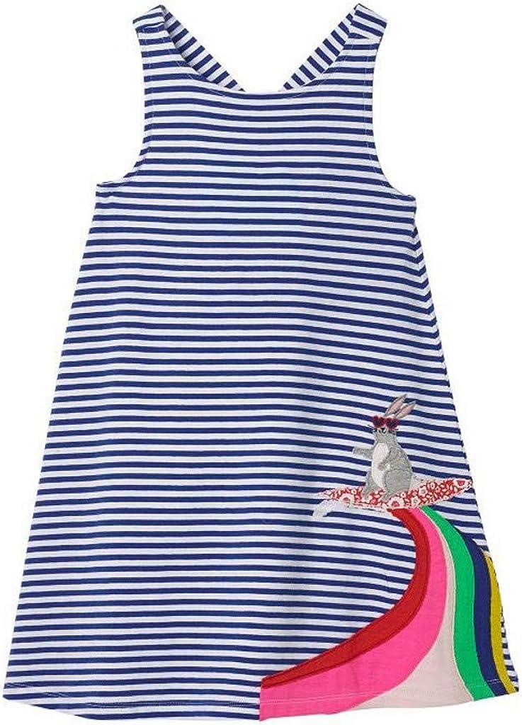 HoSayLike Vestido De Las Muchachas Moda Cuello Redondo Sin Mangas Raya Vestido De Princesa Caricatura Animal Caballo Conejo Arcoiris Falda hasta La Rodilla