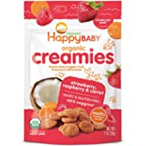 Happy Baby Organic Creamies Freeze-Dried Veggie & Fruit Snacks with Coconut Milk Strawberry Raspberry & Carrot, 1 Ounce Bag (