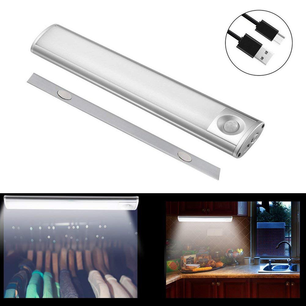 Under Cabinet Lights Under Counter Fixtures 9.45'' Aluminum Wireless PIR Motion Sensor USB Rechargeable Light Bar USB Rechargeable for Kitchen Closet Shelf Wardrob,76 Lumen,Cool White
