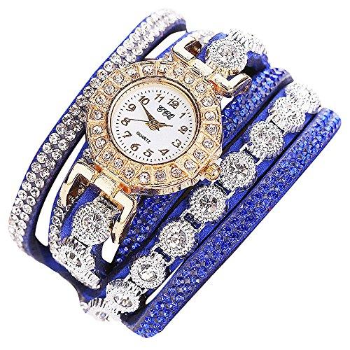 Orcbee  _CCQ Women Fashion Casual Analog Quartz Women Rhinestone Watch Bracelet Watch Gift -