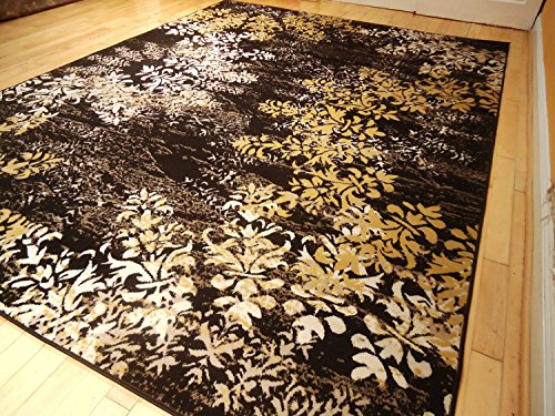 New 5x8 Rug Contemporary Tree Leaf Brown Black Beige Cream