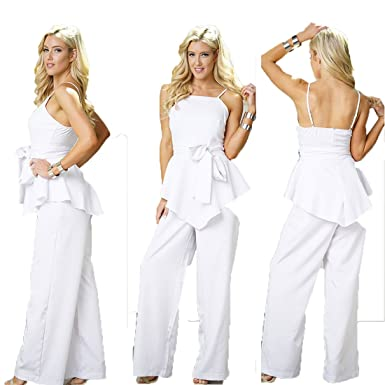 254ee8a66dc Bodycon4U Women s Peplum Ruffle Spaghetti Strap Belted Party Club Summer  White Jumpsuit Romper M