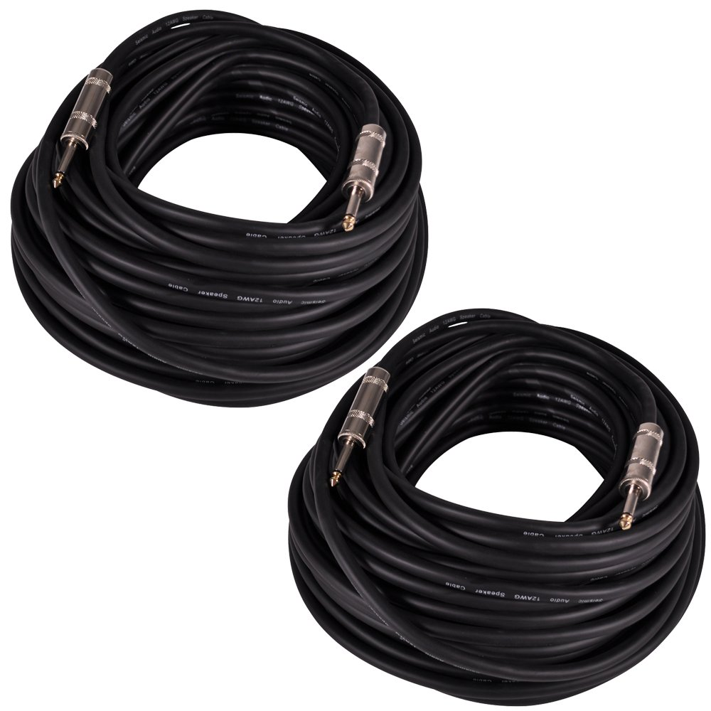 Seismic Audio Q12TW100-2Pack 100-Feet 1/4 to 1/4-Inches Speaker Cable 12-Gauge 2 Conductor, Pair by Seismic Audio