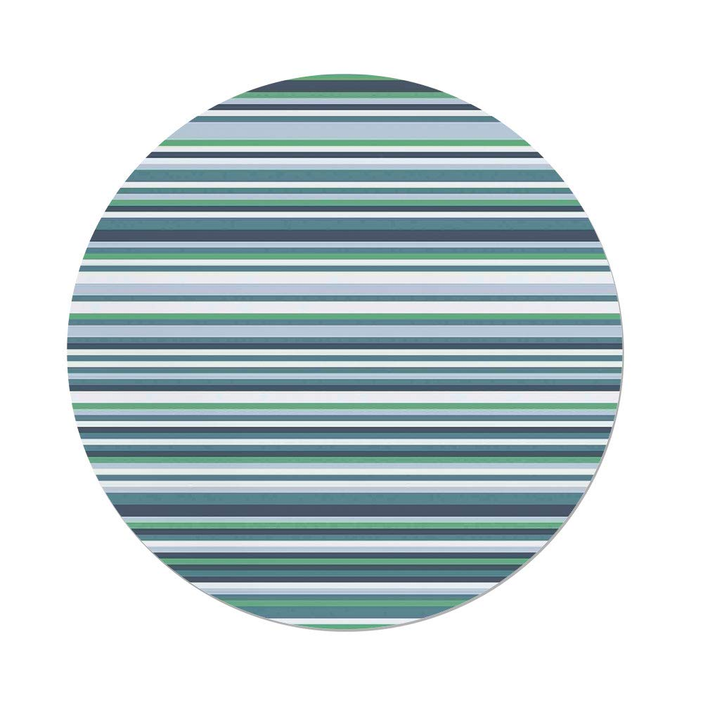 iPrint Polyester Round Tablecloth,Striped Decor,Abstract Narrow Bands Group of Long Same Bars Vintage Geometric Artwork Image,Teal Blue,Dining Room Kitchen Picnic Table Cloth Cover,for Outdoor Indoor