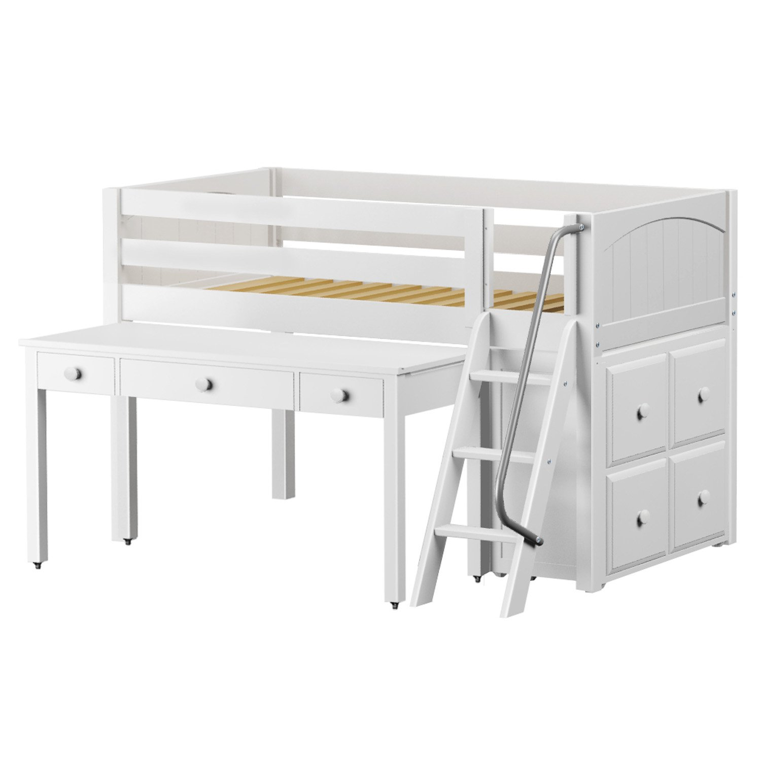 Maxtrix Solid Hardwood Twin-Size Low Loft Bed with Ladder Entry, Cube Dresser and Long Tilt Desk, White Finish