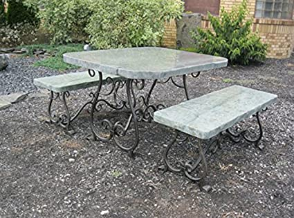 Amazoncom Stone Age Creations TAMEJA Melody Natural Stone - Stone picnic table