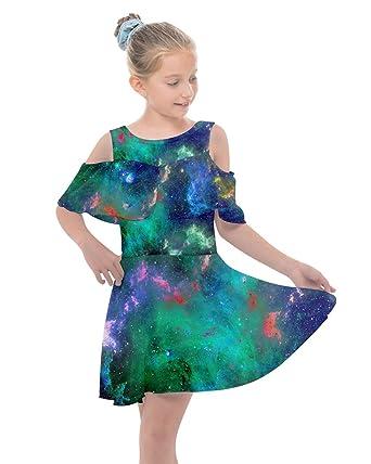 e68300b78c674 PattyCandy Girls Fun Galaxy Prints Kids Shoulder Cutout Chiffon Dress - 2
