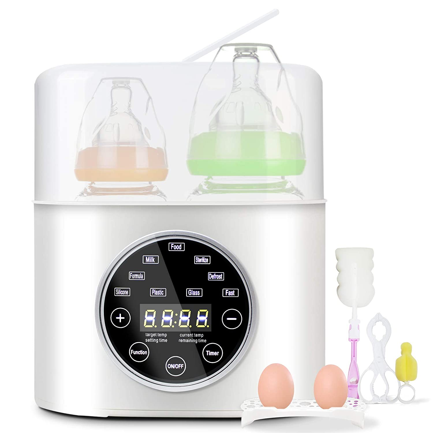 Bottle Warmer, AUMIO Fast Baby Bottle Warmer and Sterilizer 6-in-1 Baby Food Heater and Defrost Warmer for Baby Milk Breastmilk Formula with LED Display and Thermostat Timer Function Two Bottles